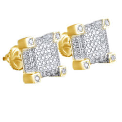 Simulated Diamond Men's Stud Earrings 14k Yellow Gold Over Sterling Silver 925