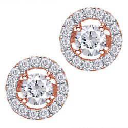 0.50 Ct Natural Diamond Halo Stud Earrings In 14k Rose Gold Christmas Special