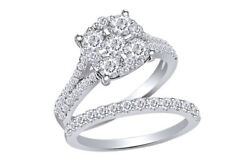 Round Diamond Cluster And Pavé Bridal Set 2ct 14k White Gold Christmas Special