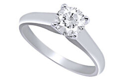 1/2 Ct Certified Diamond Solitaire Engagement Ring 18k White Gold Christmas Spl