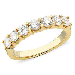 1.00 Cttw Seven Diamond Band Ring In 14k Yellow Gold Christmas Special