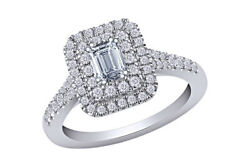 1cttw Round And Emerald Diamond Cluster Ring 18k White Gold Christmas Special
