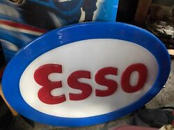 Vintage Original Esso Oil Co Plastic Embossed 34 X 24 Oval Sign Greatcondition