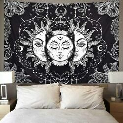 Trippy Sun Moon Mandala Tapestry Psychedelic Wall Hanging Blanket for Home Decor