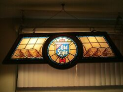 Vtg Heilemans Old Style Beer Faux Stained Glass Plastic Pool Table Hanging Light