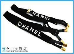 Cc Suspenders Black White Gold Canvas Leather Vintage Auth From Jp