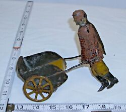 Girard Farmer Boy Walking Toy Push Cart Wind Up Tin Toy For Parts Or To Restore