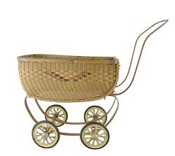 Vintage Child's Baby Buggy Carriage Stroller For Doll Wicker Rattan 18 X 9 X 15