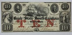 1861 Bank Of The State Of South Carolina 10 Obsolete Currency Note Sc-195-30 1