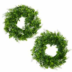 Artificial Boxwood Wreaths For Farmhouse Front Door, Window 12 In, 2 Pack