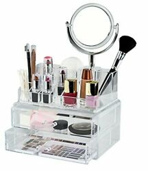 Elle Makeup Organizer With Mirror Andndash Holder For Cosmetics And Jewelry With 15 Co...