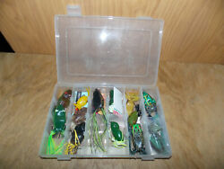 14 Frog Topwater Lures Mostly Soft Plastic W/case Very Clean 9/21