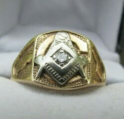 Vintage Unique 10k Gold And Diamond Masonic Ring Size 10 Hard To Find Design