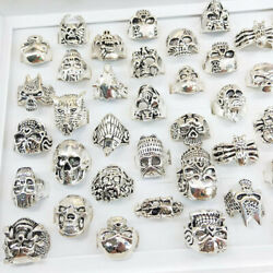Wholesale 50pcs Lots Retro Punk Animal Mixed Style Antique Silver Rings Jewelry