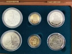 1992 Columbus Quincentenary Six Coin Silver And Gold Set 3 Proof 3 Unc In Ogp Jah
