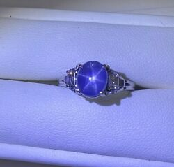 A Vintage Unheated Burma 3.93ct Star Sapphire Platinum Ring And Certificate