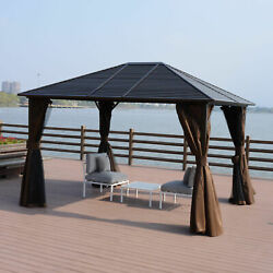 10x12ft Steel Hardtop Gazebo With Netting Curtains And Sidewalls Brown And Black