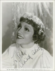Claudette Colbert - Inscribed Printed Photograph Signed In Ink Circa 1936