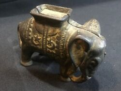 Cast Iron Elephant Still Bank With Howda Figural Bank Antique A.c. Williams