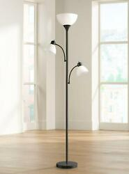 Floor Lamp 3 Light Tree Modern Torchiere White Abs Shades Metal Construction
