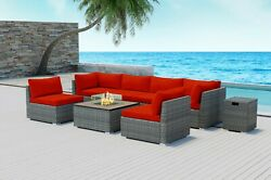 Modenzi 8pcs Grey Wicker Outdoor Patio Furniture With Square Fire Pit Red