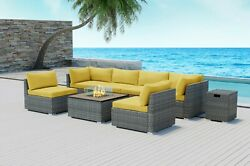 Modenzi 8pcs Grey Wicker Outdoor Patio Furniture With Square Fire Pit Yellow