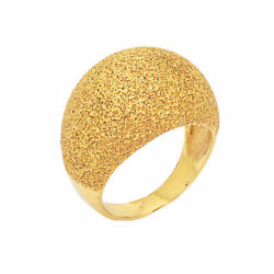 Textured Dome Ring Vintage 18k Yellow Gold Wide Cigar Band Florentine Finish 7.5
