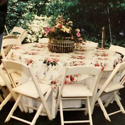 90- 120 Round Floral Tablecloths For Weddings, Garden Parties, Vintage Fabric