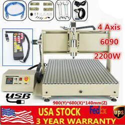 Cnc 6090t 4 Axis Router Engraver 2.2kw Wood Pcb Milling Carving Machine Usb W/rc