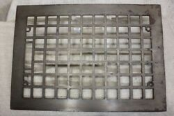 """Old Heat Air Grate Register Only Vintage 13 5/8 X 9 5/8"""" Squares Clean Cast Iron"""