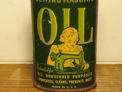 Vintage 3.5 3 Oz Sewing Machine Household Oil Tin Can - Rare And Nice Graphics
