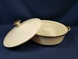 9 Covered Vegetable Dish Casserole Lenox Eternal Gold Dimension Coll Usa New
