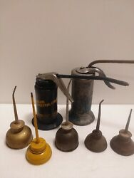 Lot 5 Vintage Mini Oil Cans Plus Eagle Made And Plews Pistol Oilers