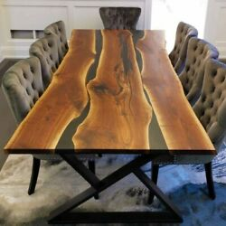 Blue Epoxy Live Edge Wooden Table, Epoxy Resin River Table, Natural Wood Table