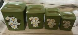 Vtg Set Of 4 Square Avocado Green Flowers Gold Floral Canisters Retro Farmhouse