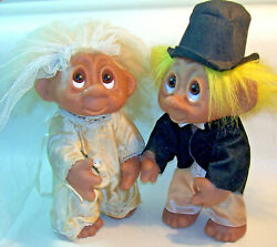 Vintage 9 Tall Dam Wedding Couple Trolls Gnomes Bride And Groom Made In Denmark