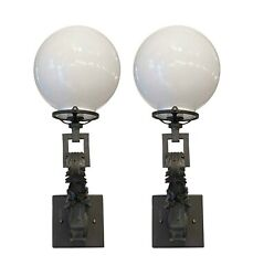 Pair Of Original Bronze Gas Wall Sconces With Opal Globes