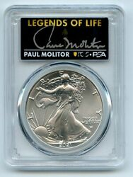 2021 1 American Silver Eagle Type 2 Pcgs Psa Ms70 Legends Of Life Paul Molitor