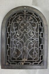 """Old Arch Top Heat Grate Register Clover Raised Face Vintage 1894 13 3/4 X 10"""""""