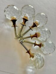 Vintage Set Of 6 Sphere Clear Cut Glass Drawer Knobs Brass Farmhouse Shabby Chic