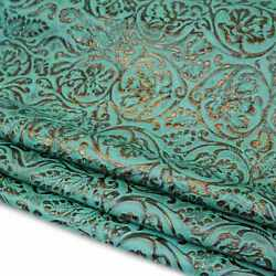 Turquoise/copper   Heirloom Embossed Cowhide Rough Cut Sold By Sqft   2/3oz