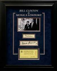 President Bill Clinton And Monica Lewinsky Signed Autograph Photo Display Psa Dna