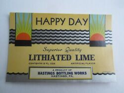 Wholesale Lot Of 25 Old Vintage Happy Day Lithiated Lime Soda Labels Hastings Pa