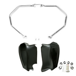 Chrome Engine Guard Highway Bar Lower Fairings Fit For Indian Roadmaster 2014-21