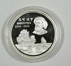 1983 Shenyang / China Mint Marco Polo Silver Proof Coin In Capsule