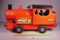 Vintage 1950and039s Tri-ang Puff Puff Train Locomotive 17 Pressed Steel Toy England