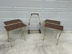 4 - Vintage Mid Century Modern Tv Trays W/ Stands And Cart Faux Wood Brass Table