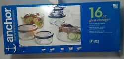Anchor Hocking 16 Pc Glass Food Meal Prep Storage Containers Navy Bpa-free Lids