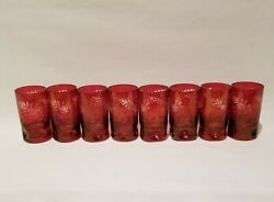 Vintage 8 Bohemian Etched Glass Ruby Cut To Clear Dimpled/pinched Shot Glasses
