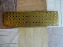 Antique Brass Cribbage/dominoes Board With Feet Length 27 Cm X 7.5 Cm